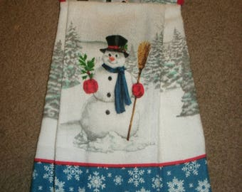 Snowman Dish towels, Pot Holder Towel Set, Holiday Gift, Home decor, Holiday Towels, Christmas towels, Hanging towel, Kitchen towel,