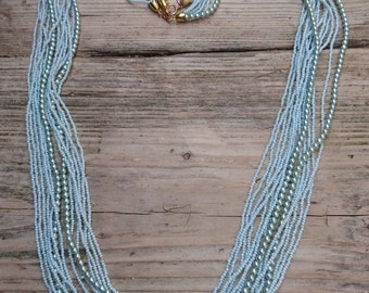 Two vintage blue seed bead and pearl 7 strand necklaces
