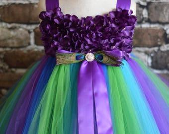 Purple Peacock Hydrangea flower girl dress
