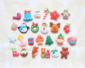 Christmas ornaments for advent calendar Christmas decoration accents Felt ornaments Christmas Tree Ornament stocking stuffer Santa plush