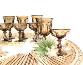 Black Glassware Set of 8 Goblets Dark Brown Wine Glasses Champagne Glasses Desert Cups