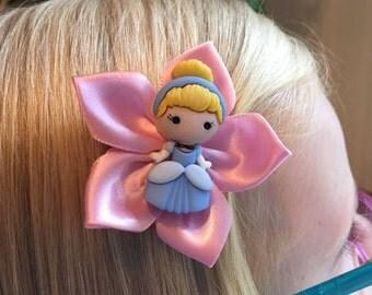 Cinderella Hair Clip/Hair Bow, Disney, Kanzashi, Fairy Godmother, Mice