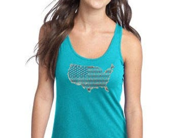 Rhinestone U.S.A. Design Junior Sized Tank Top - Perfect for 4th of July Independence Day & Patriotic Wear!