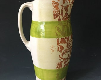 Pitcher with Pattern and Green Stripes