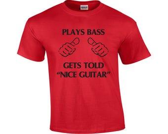 Plays Bass | Funny Bass Guitar T-shirt |  | Men's T-shirt | Bass Player Shirt | Shirt For Bass Players | Bass Player Graphic Tee