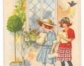 Schoolgirls Birthday Card, c. 1925