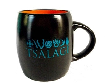Cherokee Seven Clans Mug- Black and Orange Tsalagi Cherokee Designed