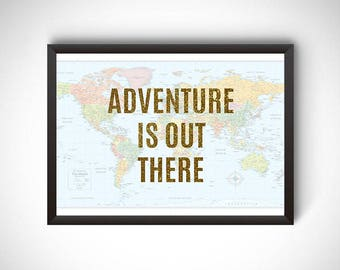 Travel digital prints, adventure is out there poster, travel wall art, travel home decor, wanderlust printable, instant download prints,