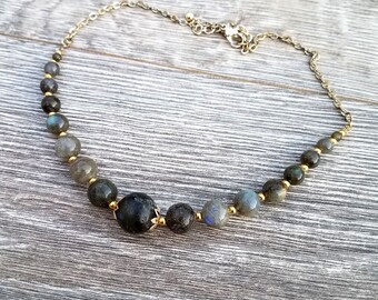 Bruja Oscura- Gradient Beaded Labradorite Vintage Chain Necklace