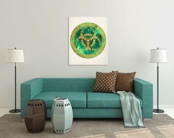 Sacred Geometry Mandala, Green Emerald Wall Decor, Mandala Decor, Mandala Print, Yoga Studio Decor, Buddhist Decor, Spiritual Art Home Decor