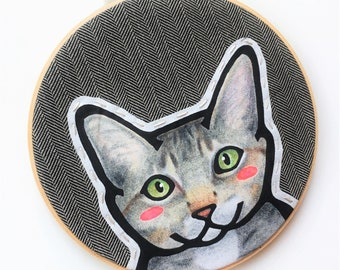 Custom Cat Portrait - LARGE 8 Inch Embroidery Hoop - Custom Cat Portraits - Cat Portrait - Cat Lovers - Gift for Cat Lovers