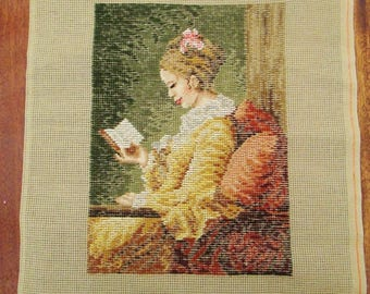 Large Hand Embroidered Tapestry On Cotton - Beautiful Woman Reading - Impressive  - Very Detailed & Classical Example - Fine Art