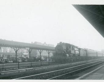 Vintage Original 1940s Photograph of a Parked Passenger Train B134 from the USA steam engine