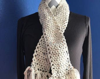 Cream Crochet Scarf