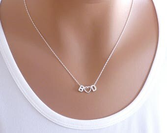 100% Sterling silver Initial and Heart Necklace, Initial and Heart, Letter and heart necklace, Mom Necklace, Heart, Letter Necklace