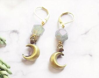 Crescent Moon Celestial Labradorite Dangle Earrings