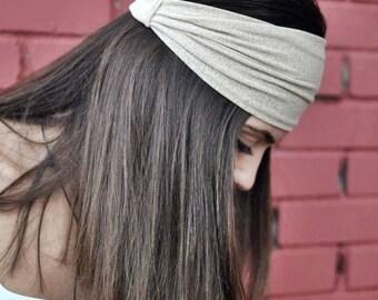 Elastic Jersey Turban, Beige Headband, Running Headband, Yoga Headband, Boho Headband, Workout Headband, Womens Turban, Womens Headband