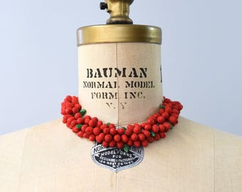 1970's red cluster berries choker length necklace
