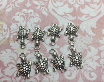 Silvertone turtle charms (8 pieces)