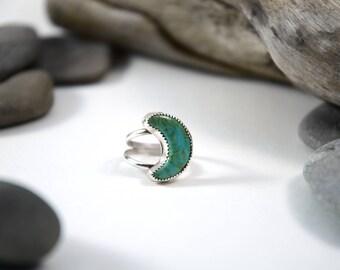 "Kingman Turquoise ""Moon"" Ring, Turquoise Ring, Size 6.75"