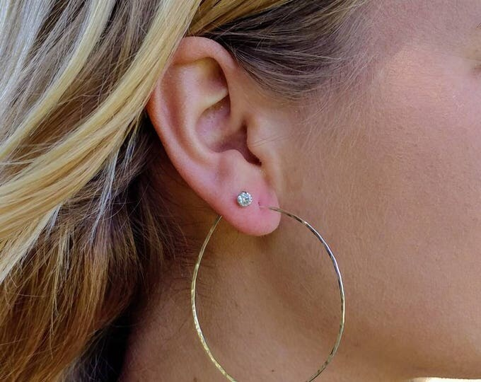 Silver Hoop Earrings, Simple Hoops, Hammered Hoops, Hoop Earrings, Hammered Earrings, sterling silver Earrings, Small, Medium, Large