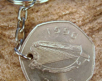 1996 Old Large 50p Fifty Pence Irish Coin Keyring Key Chain Fob 22nd Birthday Caoga Pingin