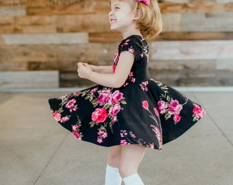 Girls' Magenta Bouquet on Black Bespoke Dress