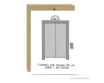 Thank you greeting card - thanks for picking me up when I am down elevator pun  sc 1 st  Etsy & Graduation card funny pun punny your future is so bright pezcame.com