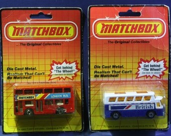 Pair of NOS Vintage Matchbox diecast British and London Buses