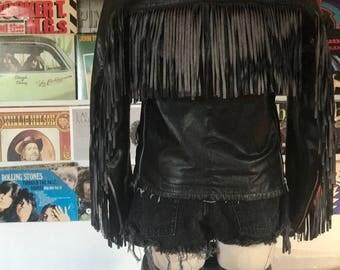 Vintage Leather Fringed Riding Jacket