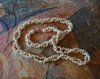 """Faux Seed Pearl 25"""" Double Strand Necklace Vintage"""