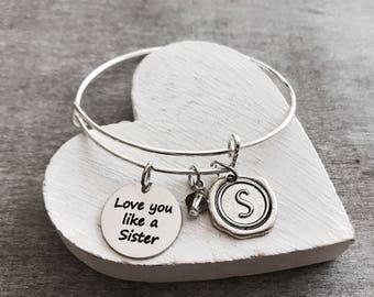 Love you like a sister, Friend, Best Friend, Friendship, BFF, Bestie, Charm Bracelet, Silver Bracelet, Silver Jewelry, Gift, Customized