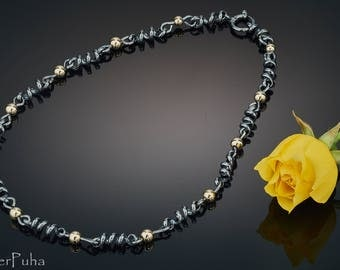 Black'n'gold sterling silver chain
