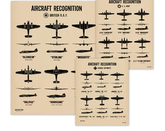 Set of 3 WW2 Vintage Style Plane Spotting Poster Charts - Aircraft Recognition - European Theater