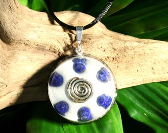 Lapis Lazuli Orgone Pendant - Spiral - Third Eye Throat Chakra Healing Lightworker Jewellery - Medium