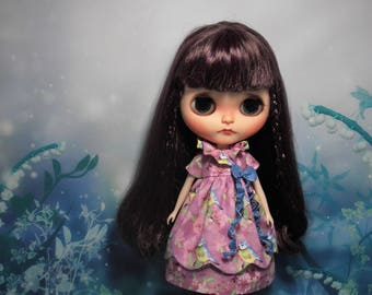 Blythe Dress Vintage Inspired Bird Pink Scalloped Edge Blythe Doll Clothes Outfit Pullip Pure Neemo S Licca