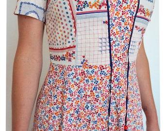 Vintage clothing - 70s Scandinavian look flower folk boho hippy maxi dress XS / SM - vintage dress