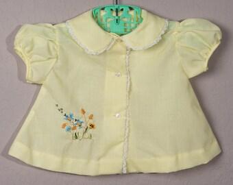 Vintage Yellow Baby Dress, 1960's Sz 3-6mo Baby Dress