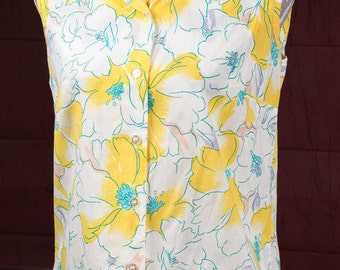 Vintage Sleeveless Floral Blouse, 1970's Haband for Her Blouse