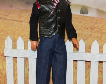 """Fair Rodeo Days.  Western Cowboy Outifit for 12 & 13"""" Male Fashion Dolls.  (Clothes and Hat only, Ken doll and shoes not included)"""
