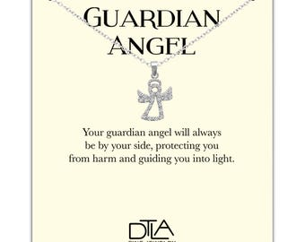 DTLA Guardian Angel Necklace in Sterling Silver with Inspirational Help Message Card - Angel with CZ