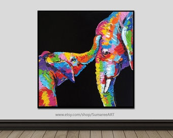 67 x 67 cm, Colorful elephant painting wall decor paintings