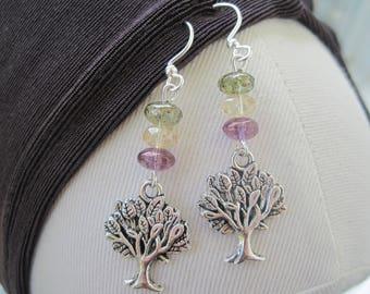 Tree of Life Earrings - Tree of Life Jewelry - Crystal Earrings - Charm Earrings - Crystal Jewelry - Nature Jewelry - Long Earrings