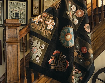 Wool Kit: Castleton Floral Wool Quilt as seen in Primitive Quilts Magazine