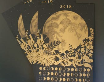 Three (3) 2018 Lunar Calendar Posters, Wall Calendar, Moon Phase, Moon Calendar, Moon Cycle, Moon Art, Lunar Phase, Moon Phase Art, Gold Art