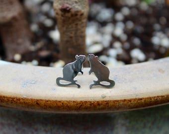 Tiny Sterling Silver Handmade Rat Stud Earrings