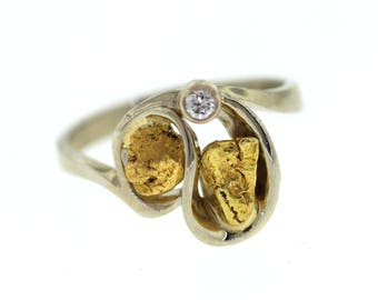 Custom Mariposa Gold Nugget & Diamond Ring, White Gold Natural California Gold Nugget Ring