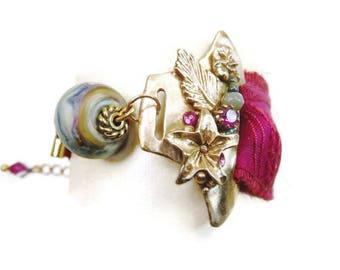 Bracelet romantique en manchette asymétrique en bronze artisanal