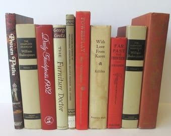 Decorator's Set of Vintage Books - Instant Library in Shades of Rust and Beige for the Adventurous Reader or Savvy Stylist