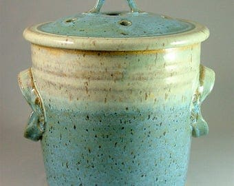 Pottery Compost Pot - Ivory and Turquoise Blue with Speckles  / Kitchen Counter-Top Compost / Veggie Scrap Container